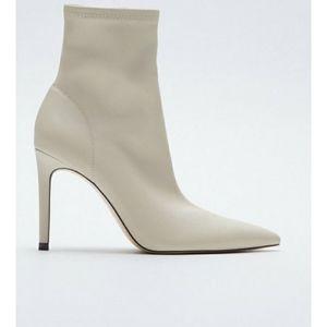 Zara cream elasticized booties